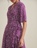 Purple Ditsy Polka Wrap Dress