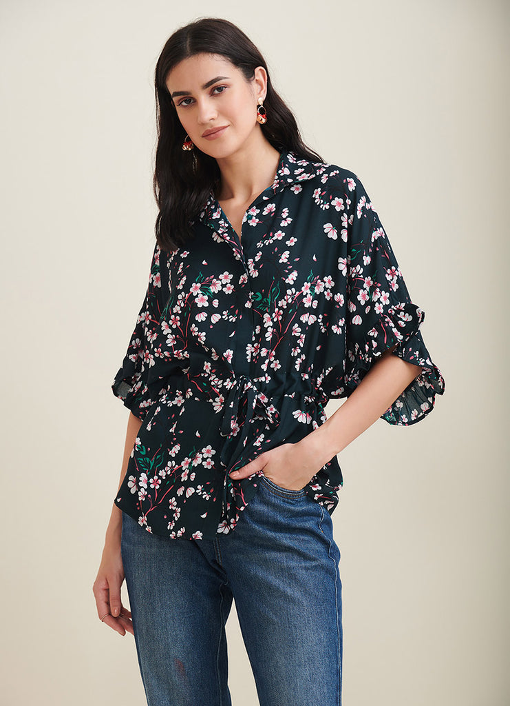 Green Floral Printed Button Down Top