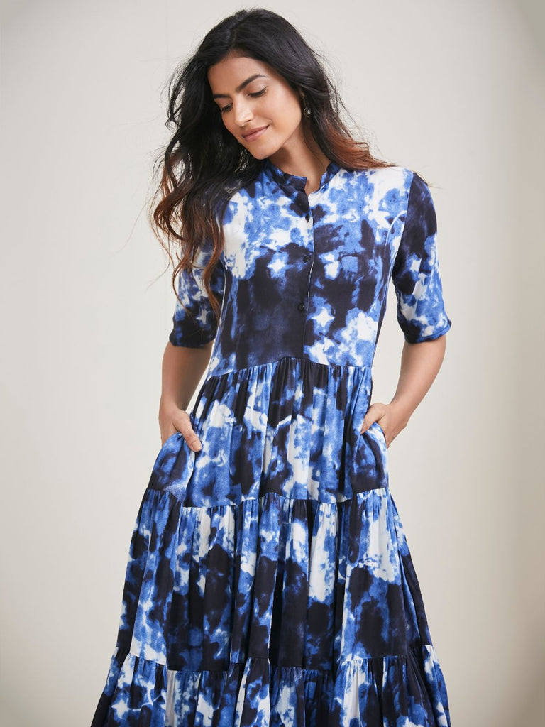 Blue tie dye button down tier midi dress