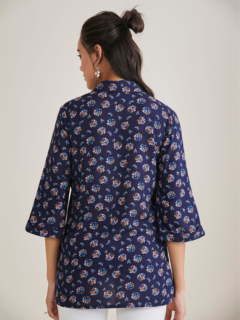 Navy Floral Polka Front Pleated Top