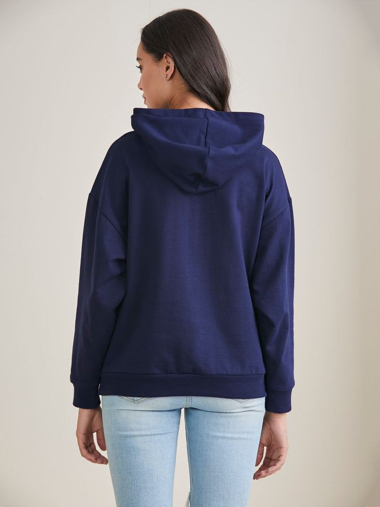 Navy Whatever Graphic Printed Sweatshirt