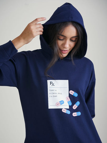 Navy Take A Chill Pill Graphic Printed Sweatshirt