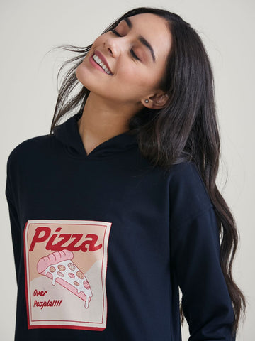 Black Pizza Over People Graphic Printed Sweatshirt