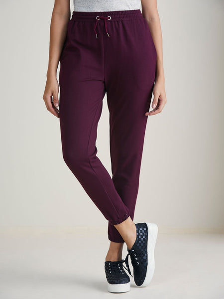 Wine Terry Track Pants