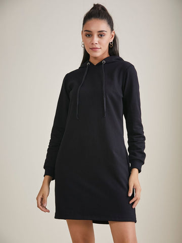 Black Hoodie Sweatshirt Dress