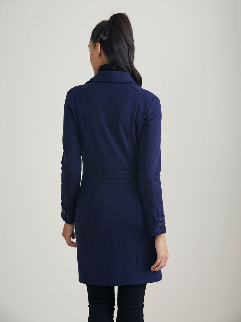 Navy Blue Double Breasted Cotton Lycra Jacket