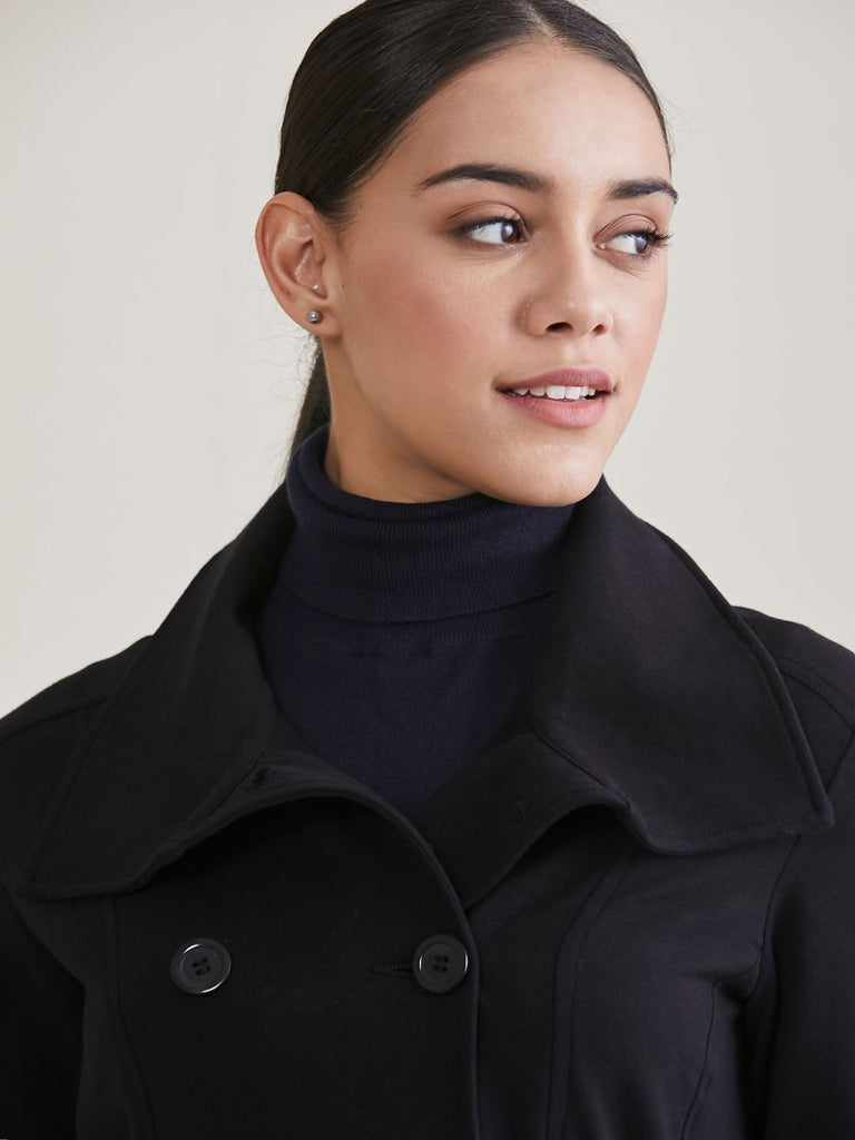 Black Double Breasted Cotton Lycra Jacket