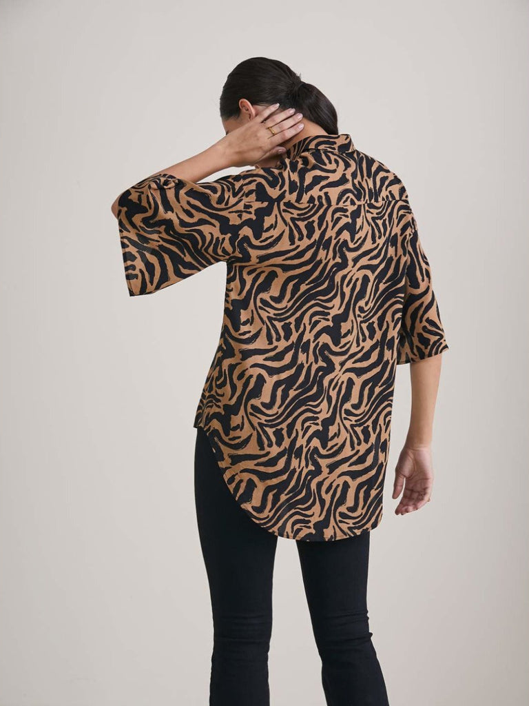 Beige abstract printed high low shirt