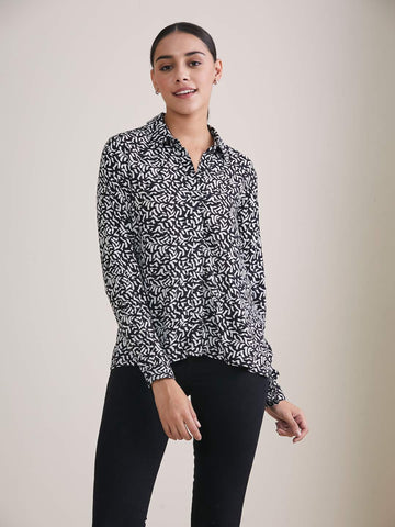 Black & White Abstract Print Button Down Shirt