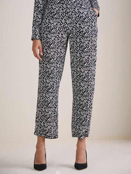 Black & white abstract print straight leg pants