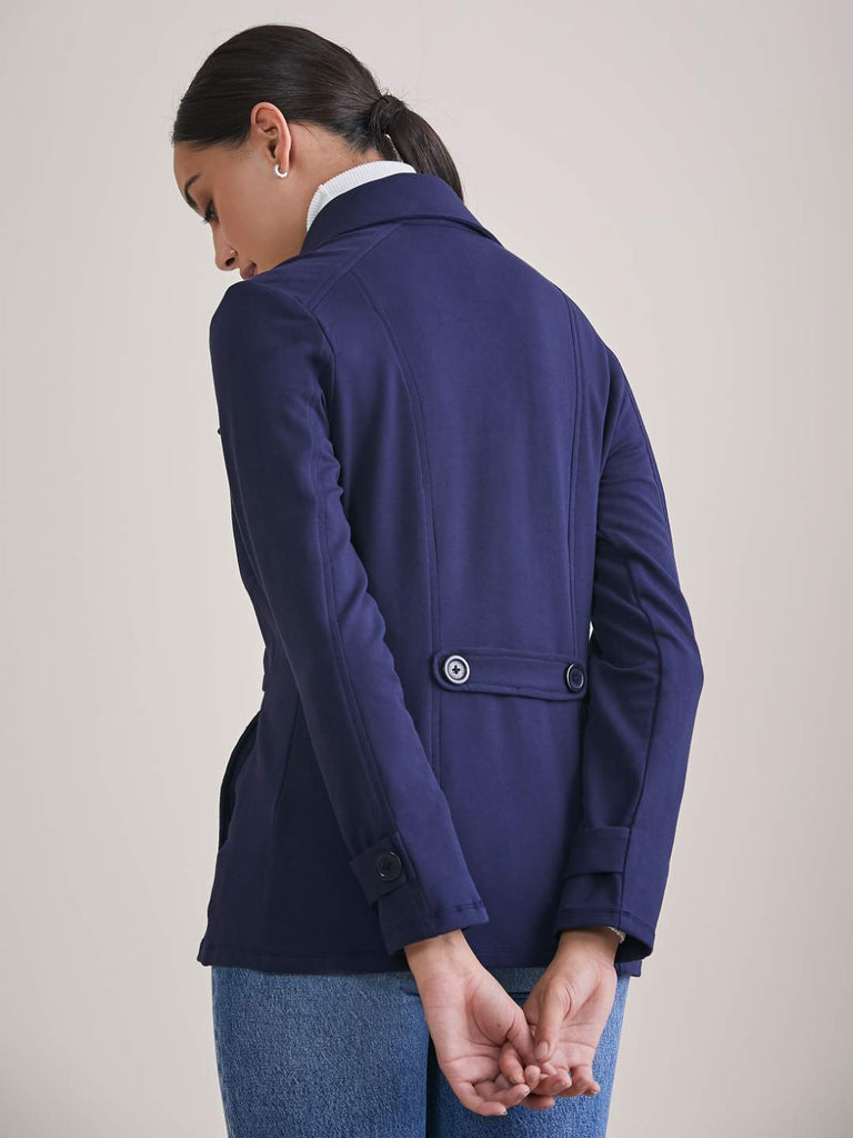 Navy Short Double Breasted Cotton Lycra Jacket