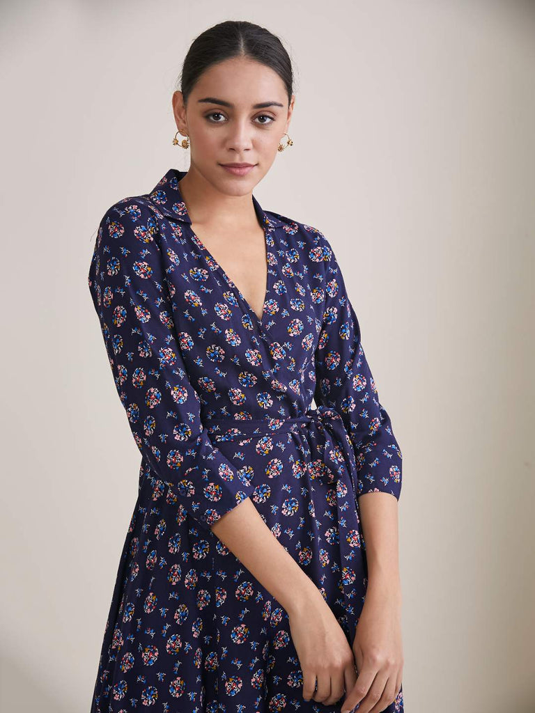 Navy Floral Polka Wrap Midi Dress