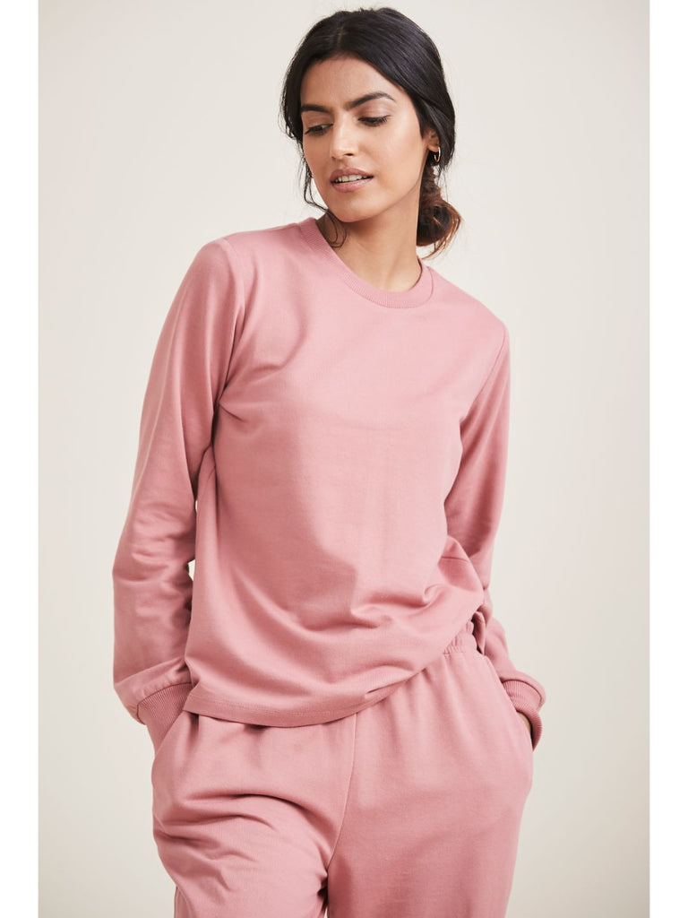 Blush Pink Terry Crew Neck Sweatshirt