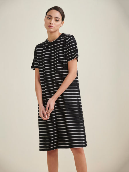 Black Striped T-Shirt Dress