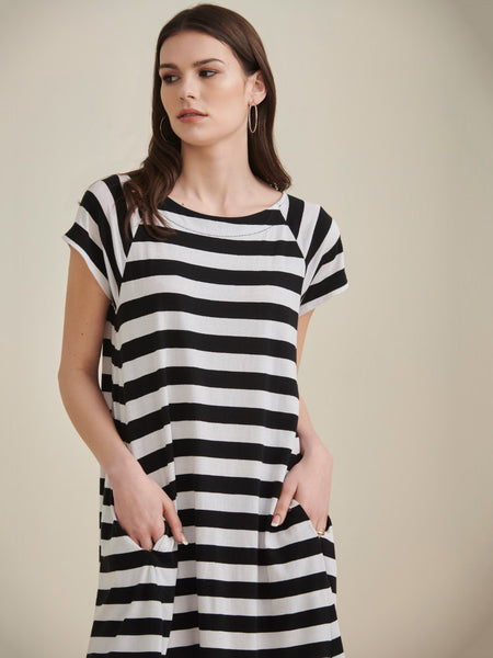 Black & White Striped  Jersey Swing Dress