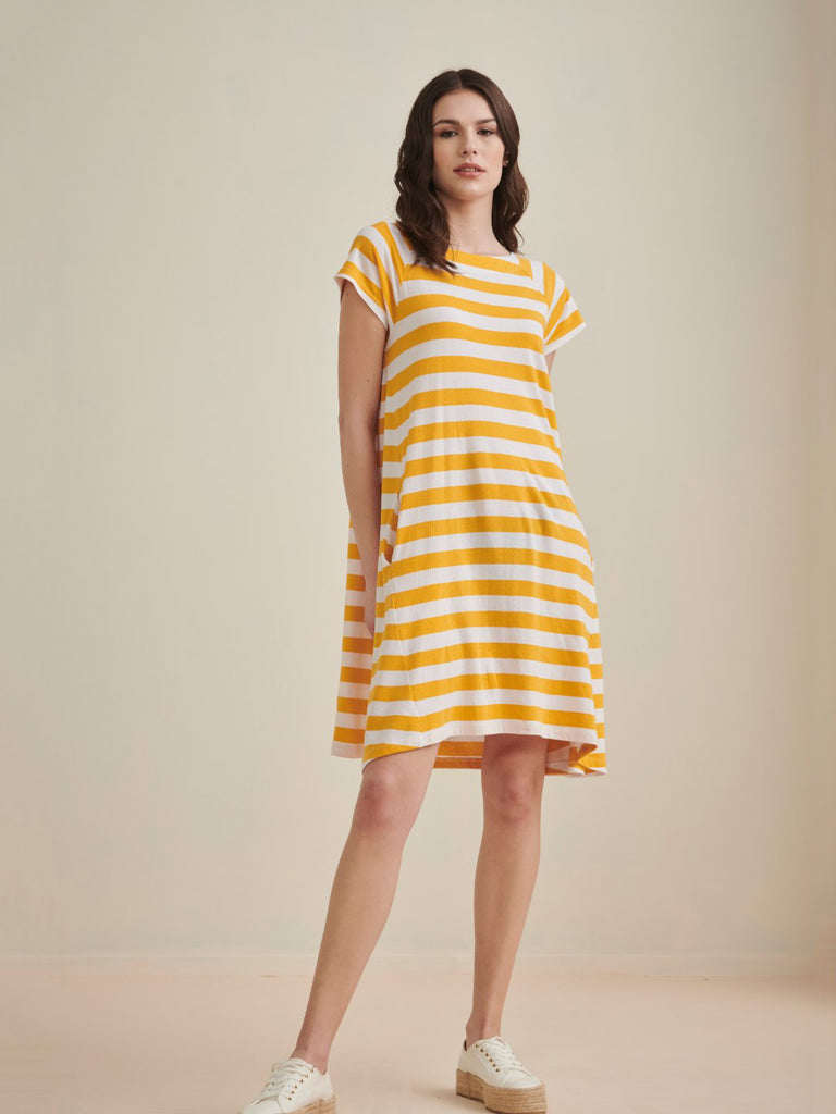 Mustard & White Striped  Jersey Swing Dress