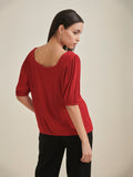 Red Crinkled Square neck top