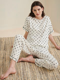 White polka dot jersey lounge wear set