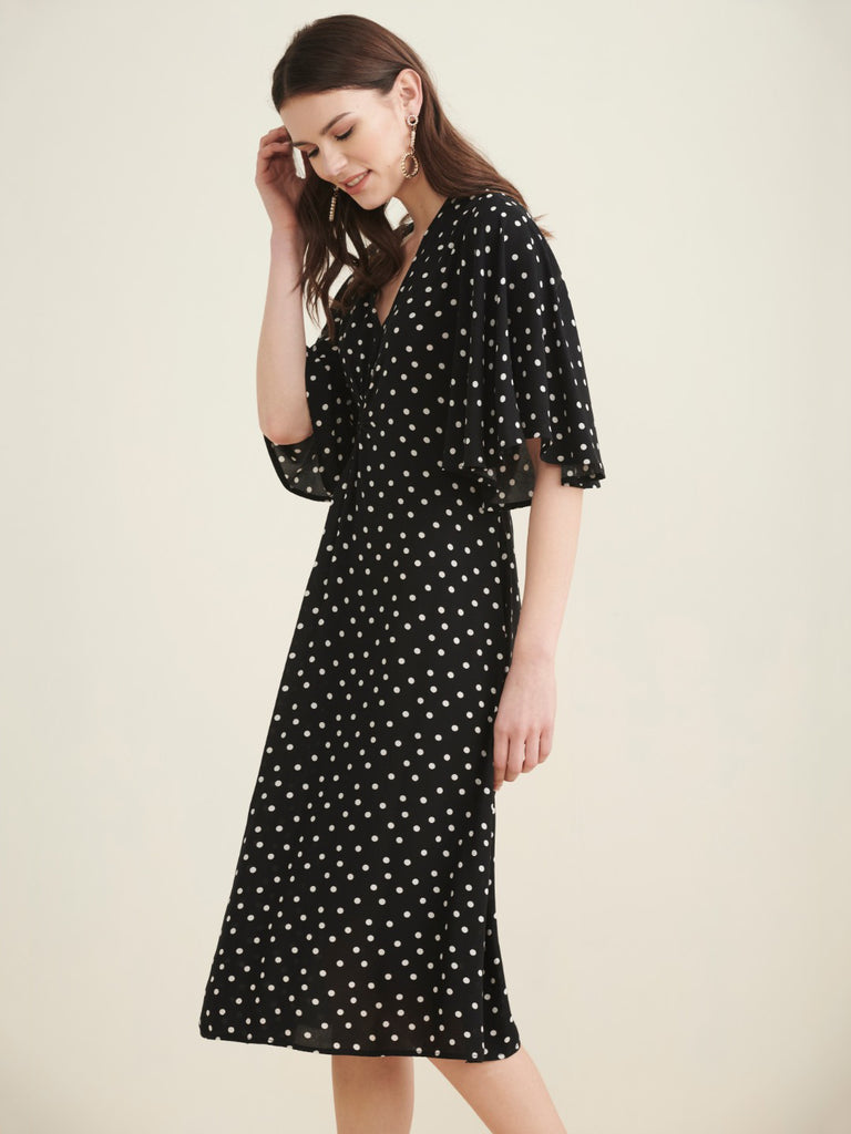 Black polka front knotted midi dress