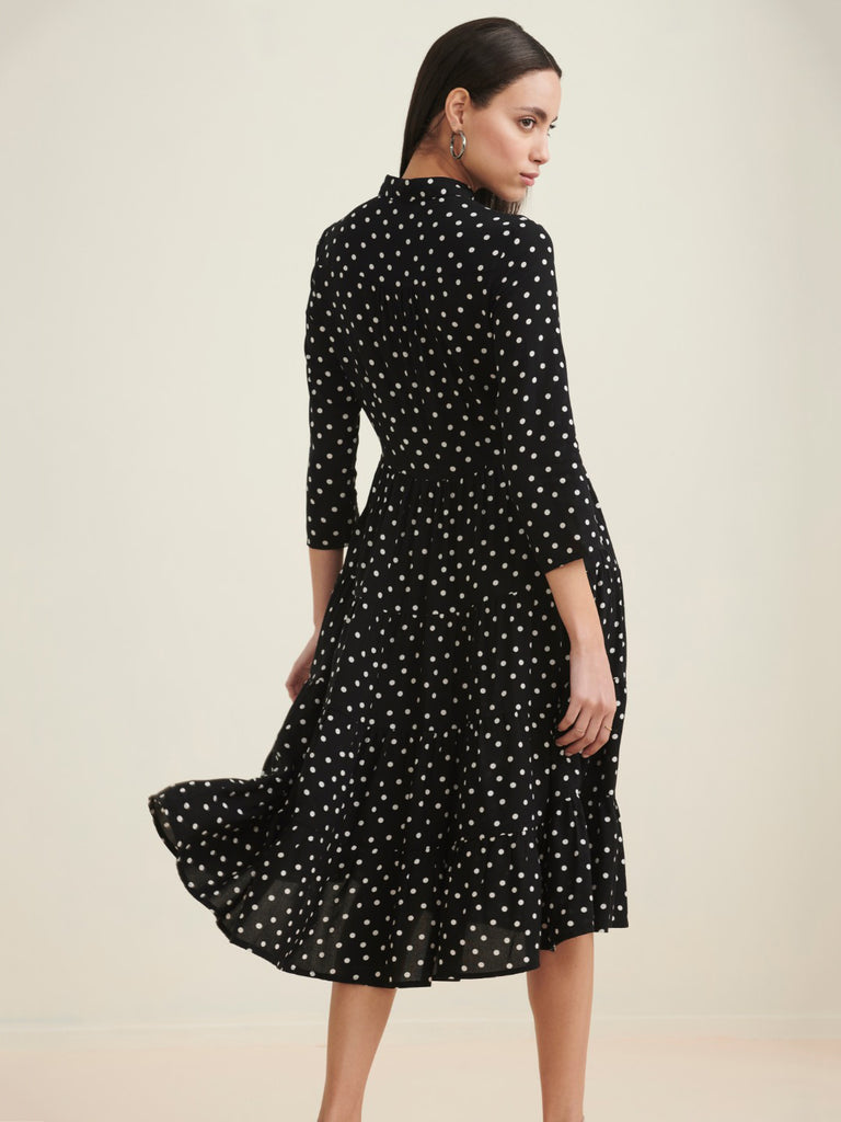 Black polka tier midi shirt dress