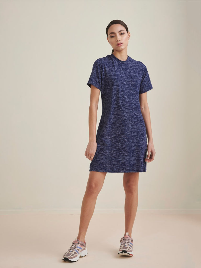 Blue Melange Knit T Shirt Dress