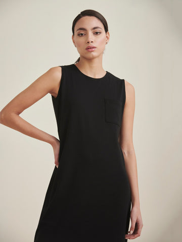 Black Cotton Ribbed Sleeveless Jersey Dress