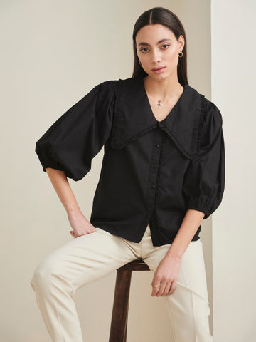Black cotton exaggerated collar shirt