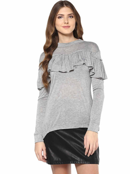 Grey Front Ruffle Top