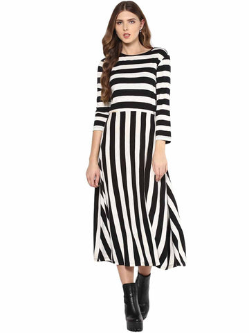 Black Bold Stripe Midi Dress