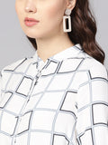 Windowpane Print Asymmetric Tunic
