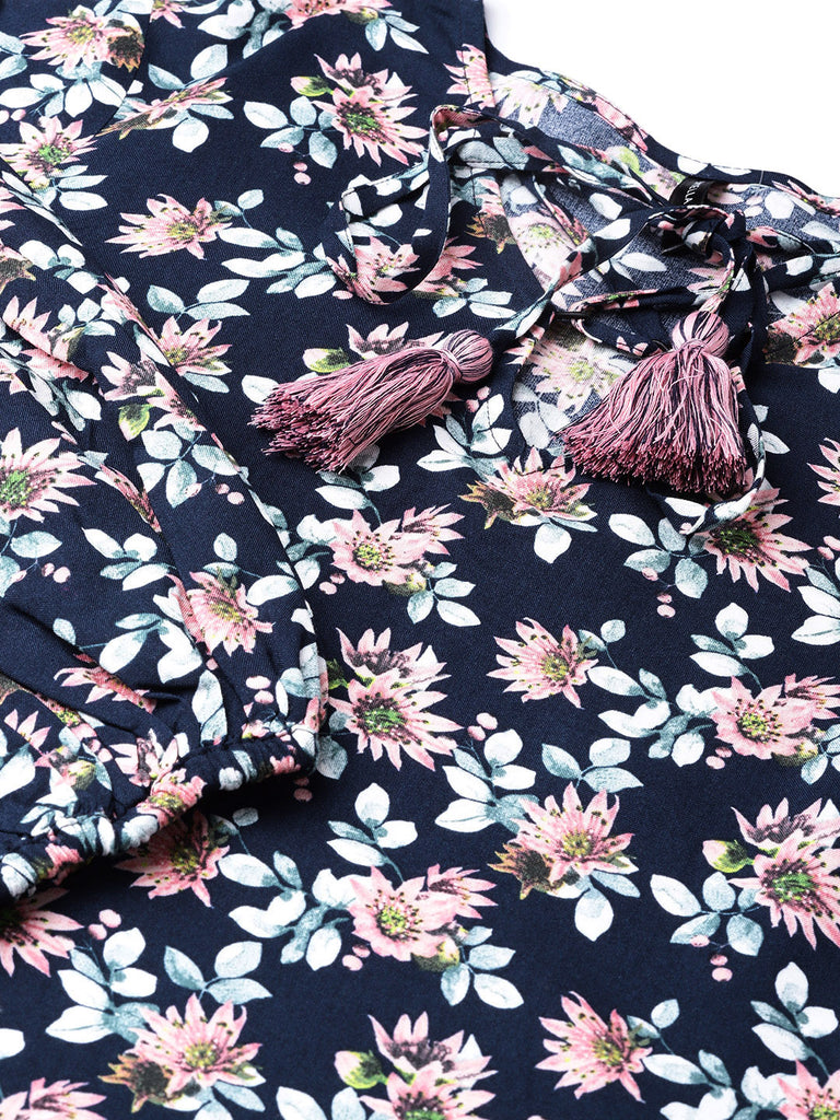 Pink/Navy floral flounce sleeve top