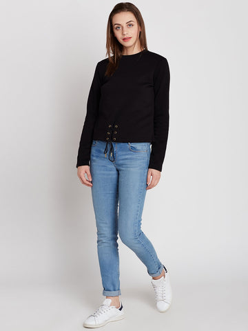 Black Eyelet Detail Sweatshirt
