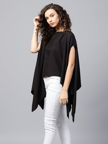 Black high low formal cape top