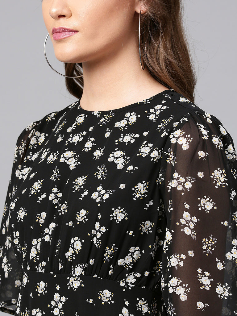 Black Printed Back Details Midi