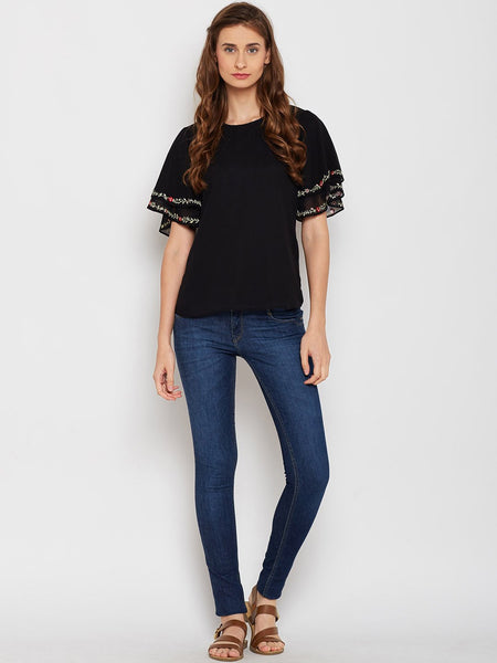 Black flared sleeve embroidered top