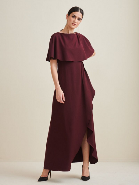 Wine Formal Cape Maxi Dress