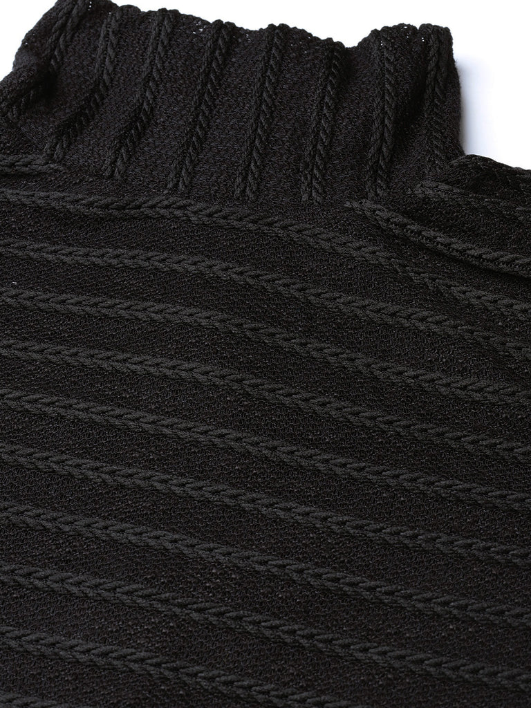 Black Mesh Textured Turtle Ribbed top