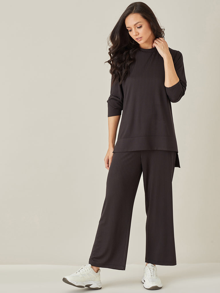Black Ribbed Long Jersey Top