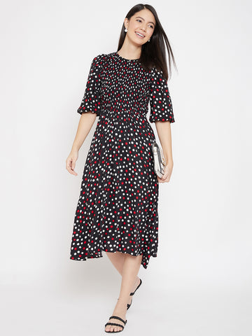 Black polka  smocked detailed midi dress