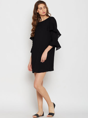 Black Frill Sleeve Mini Dress