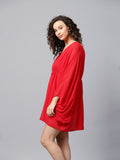 Red Front Gathered Mini Dress
