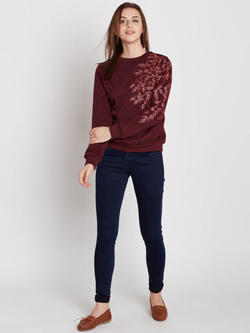 Wine Shoulder Embroidered Sweatshirt