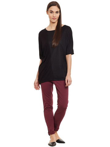 Black Side Drapped Top