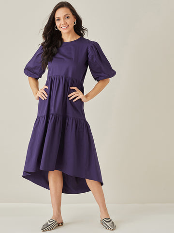 Navy Tiered Cotton Midi Dress