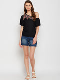Black One Shoulder Embroidered Top