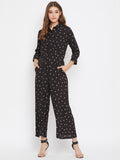 Black Polka Button Down Jumpsuit