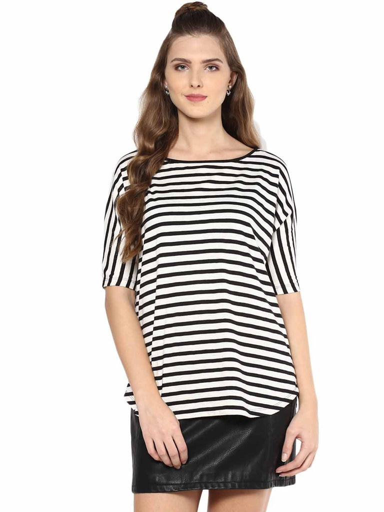 Black Stripe Oversized Jersey Tee