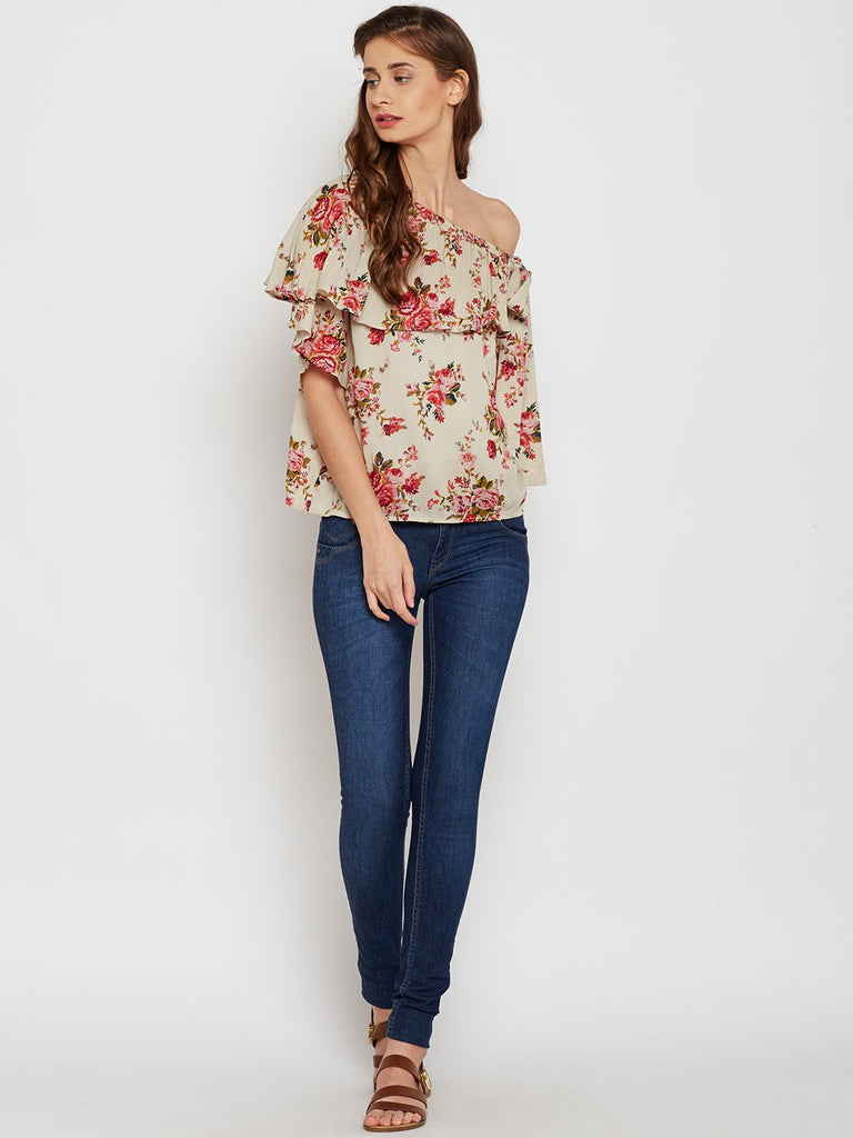 One shoulder printed top