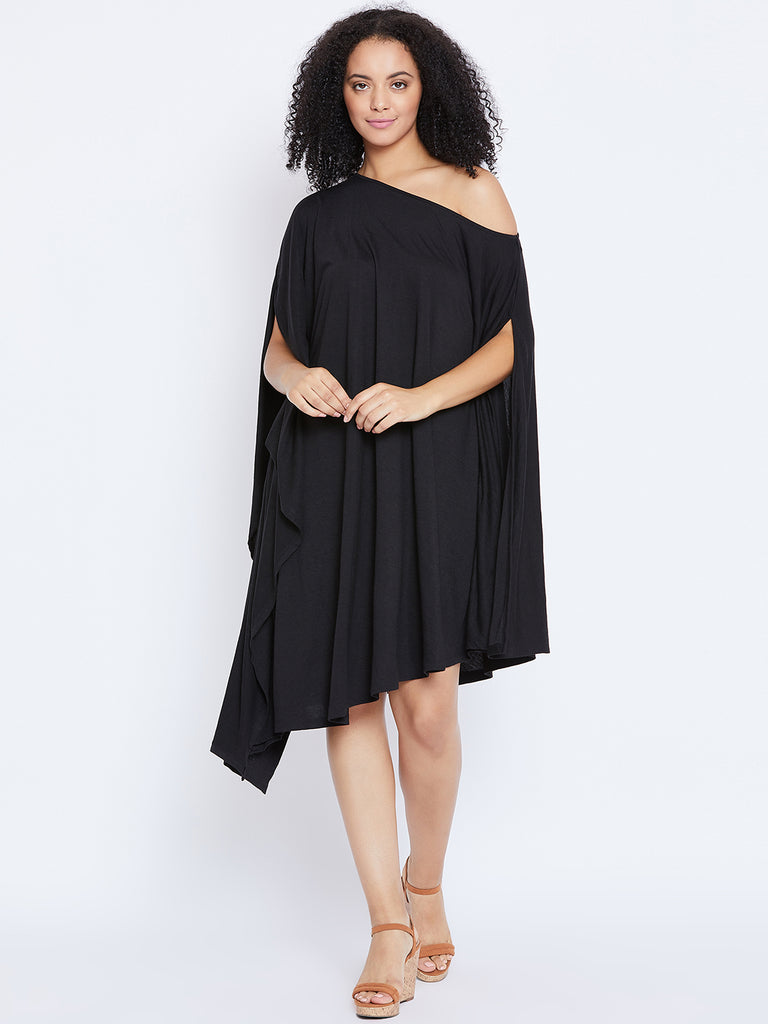 Black Off shoulder assymetric dress