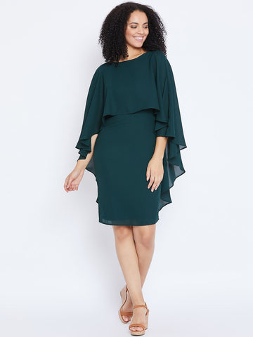 Green Cape Overlap Mini Dress